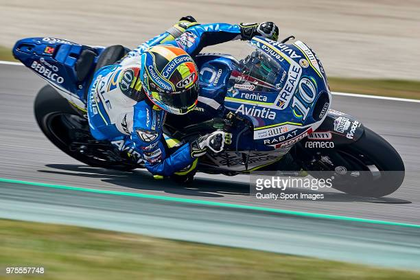 Xavier Simeon of Belgium and Reale Avintia Racing rides during free practice for the MotoGP of Catalunya at Circuit de Catalunya on June 15 2018 in...