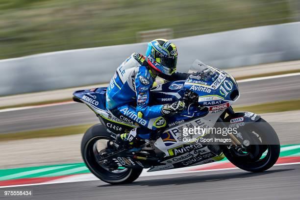 Xavier Simeon of Belgium and Reale Avintia Racing rides during free practice for the MotoGP of Catalunya at Circuit de Catalunya on June 15 2018 in...