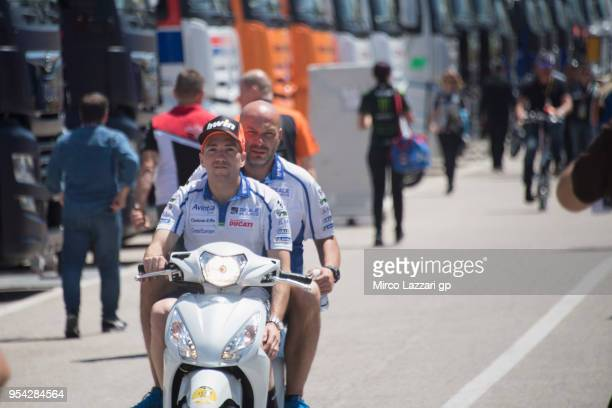 Xavier Simeon of Belgium and Reale Avintia Racing rides the scooter in paddock during the MotoGp of Spain Previews at Circuito de Jerez on May 3 2018...