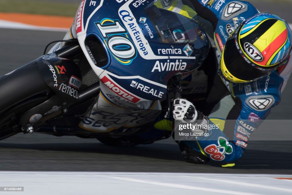 Xavier Simeon of Belgium and Reale Avintia Racing rounds the bend during the MotoGP Tests In Valencia day 2 at Comunitat Valenciana Ricardo Tormo Circuit on November 15, 2017 in Valencia, Spain.