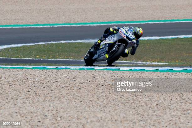 Xavier Simeon of Belgium and Reale Avintia Racing rounds the bend during the qualifying practice during the MotoGp of Spain Qualifying at Circuito de...