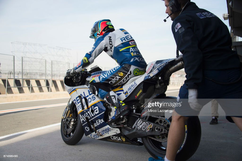 Xavier Simeon of Belgium and Reale Avintia Racing starts from box during the MotoGP Tests In Valencia day 2 at Comunitat Valenciana Ricardo Tormo Circuit on November 15, 2017 in Valencia, Spain.