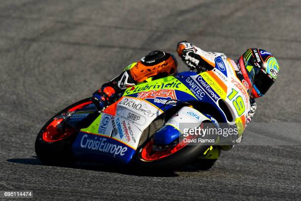 Xavier Simeon of Belgium and Tasca Racing Scuderia Moto2 rides during the Moto2 warmup ahead of the Moto2 race at Circuit de Catalunya on June 11...