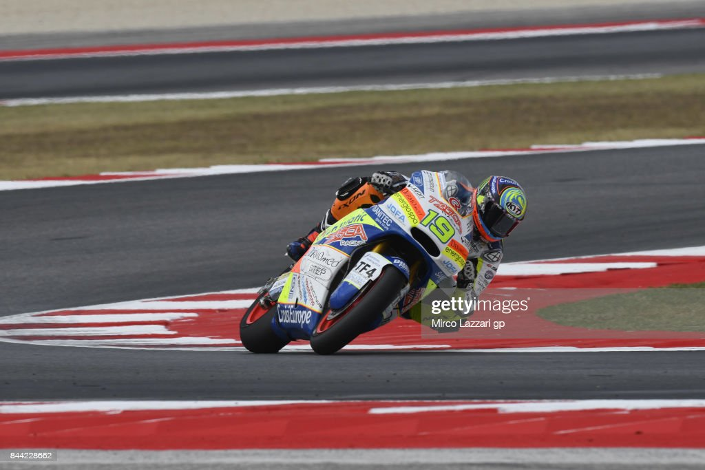 Xavier Simeon of Belgium and Tasca Racing Scuderia Moto2 rounds the bend during the MotoGP of San Marino - Free Practice at Misano World Circuit on September 8, 2017 in Misano Adriatico, Italy.
