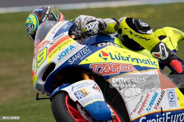 Xavier Simeon of Belgium and Tasca Racing Scuderia Moto2 rounds the bend during the Moto2 qualifying practice during qualifying for the 2017 MotoGP...