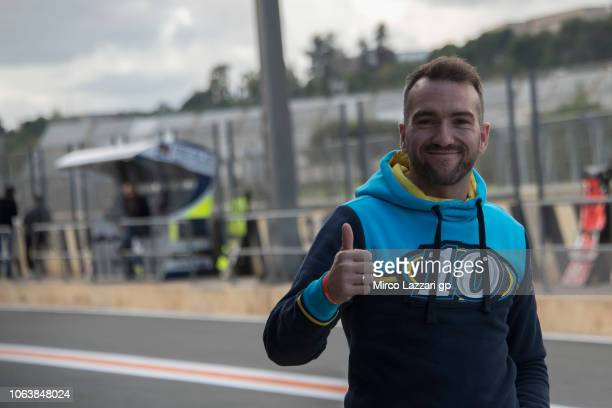 Xavier Simeon of Belgium greets in pit during the MotoGP Tests In Valencia at Ricardo Tormo Circuit on November 20 2018 in Valencia Spain