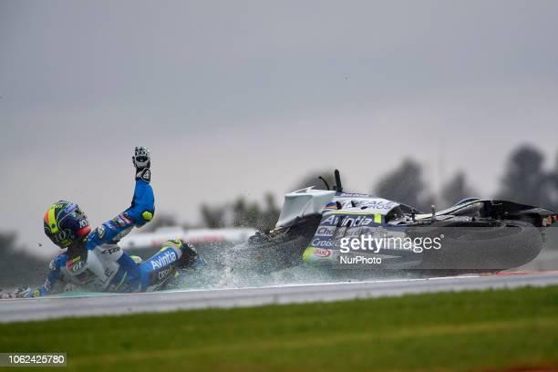 Xavier Simeon of Belgium Reale Avintia Racing Ducati crash during the free practice during the Gran Premio Motul de la Comunitat Valenciana of world...