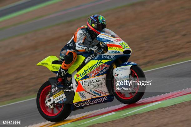 Xavier Simeon Tasca Racing Scuderia Moto2 Kalex in the free practice of the Gran Premio Movistar de Aragon Circuit of Motorland Alcañiz Spain Friday...