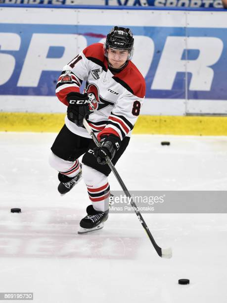 Xavier Simoneau of the Drummondville Voltigeurs plays the puck during the warmup prior to the QMJHL game against the BlainvilleBoisbriand Armada at...
