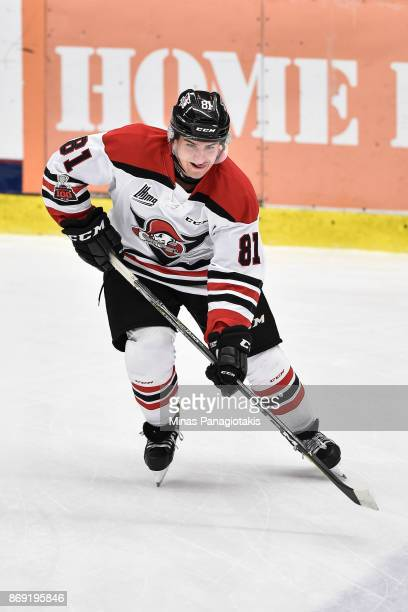 Xavier Simoneau of the Drummondville Voltigeurs skates during the warmup prior to the QMJHL game against the BlainvilleBoisbriand Armada at Centre...