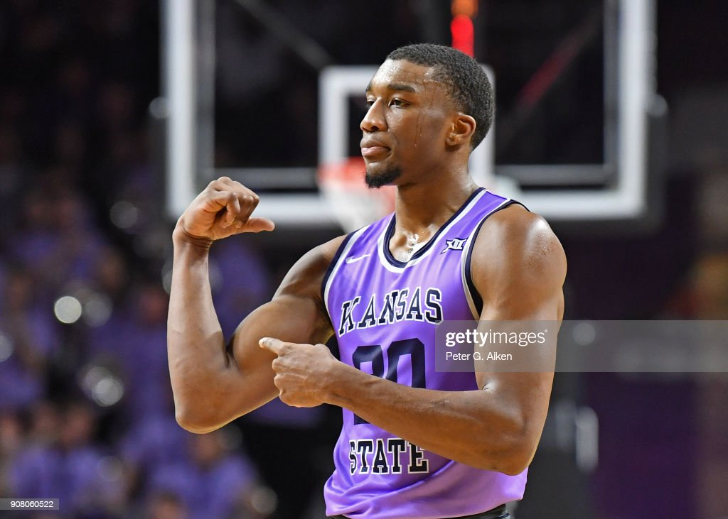 Xavier Sneed #20 of the Kansas State Wildcats reacts after a score during the second half against the TCU Horned Frogs on January 20, 2018 at Bramlage Coliseum in Manhattan, Kansas.