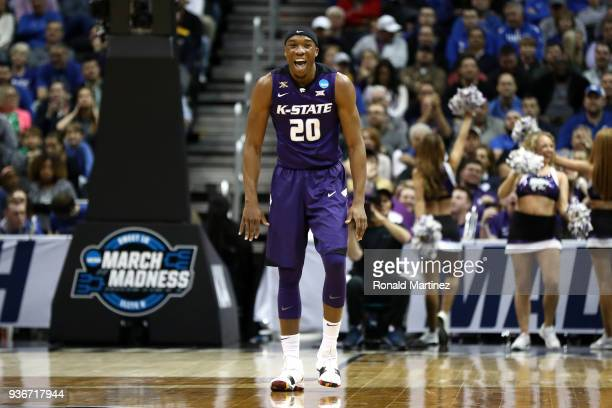 Xavier Sneed of the Kansas State Wildcats reacts in the first half against the Kentucky Wildcats during the 2018 NCAA Men's Basketball Tournament...