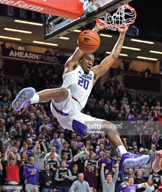 Xavier Sneed of the Kansas State Wildcats scores with a slam dunk against the Denver Pioneers during the second half on November 12 2018 at Bramlage...