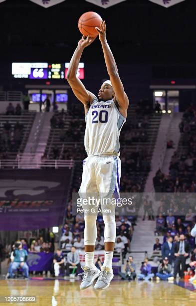 Xavier Sneed of the Kansas State Wildcats takes a shot during the second half against the Iowa State Cyclones at Bramlage Coliseum on March 7 2020 in...