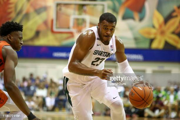Xavier Teillman of the Michigan State Spartans drives to the basket during the first half against the Virginia Tech Hokies at the Lahaina Civic...