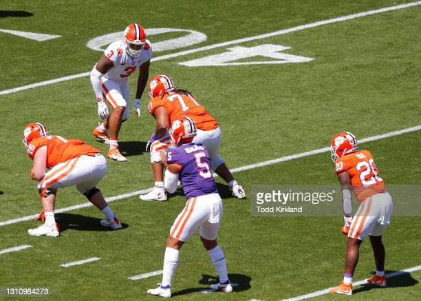 Xavier Thomas of the Clemson Tigers lines up against team orange during the Clemson Orange and White Spring Game at Memorial Stadium on April 3, 2021...