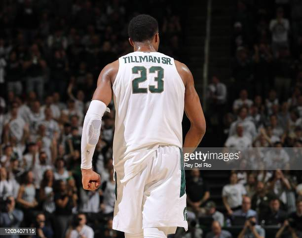 Xavier Tillman of the Michigan State Spartans debut a uniform with a nameplate reading Tillman SR. During a game against the Iowa Hawkeyes at the...