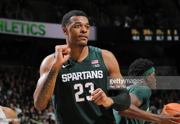 Xavier Tillman of the Michigan State Spartans during game action against the Penn State Nittany Lions at Breslin Center on February 4, 2020 in East...