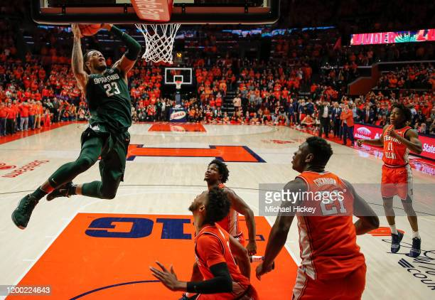 Xavier Tillman of the Michigan State Spartans goes up for the game winning dunk during the second half against the Illinois Fighting Illini at State...