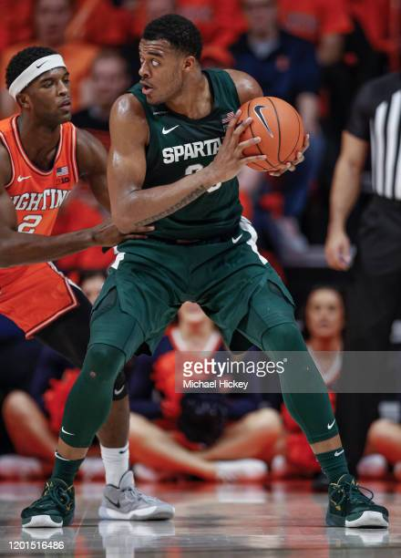 Xavier Tillman of the Michigan State Spartans holds the ball during the game against the Illinois Fighting Illini at State Farm Center on February...