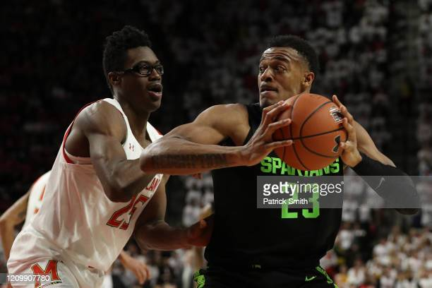 Xavier Tillman of the Michigan State Spartans in action against the Maryland Terrapins during the first half at Xfinity Center on February 29, 2020...