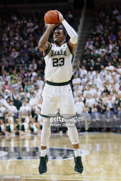 Xavier Tillman of the Michigan State Spartans plays against the Northwestern Wildcats at Breslin Center on January 29, 2020 in East Lansing, Michigan.