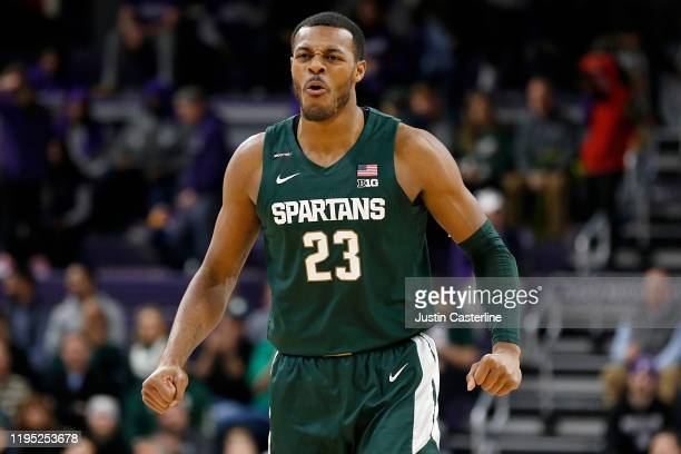 Xavier Tillman of the Michigan State Spartans reacts after a play in the game against the Northwestern Wildcats at Welsh-Ryan Arena on December 18,...