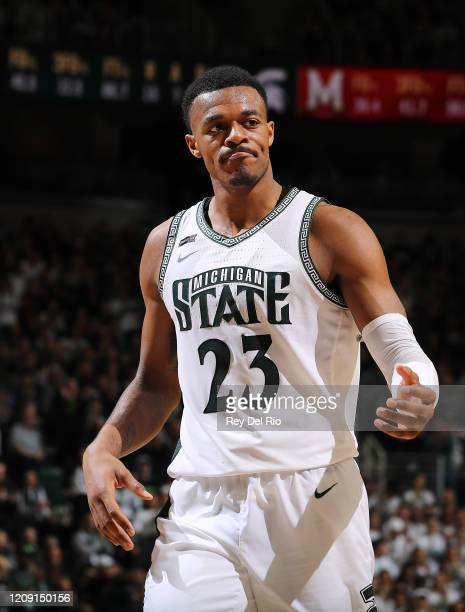 Xavier Tillman of the Michigan State Spartans reacts in the second half of the game against the Maryland Terrapins at the Breslin Center on February...