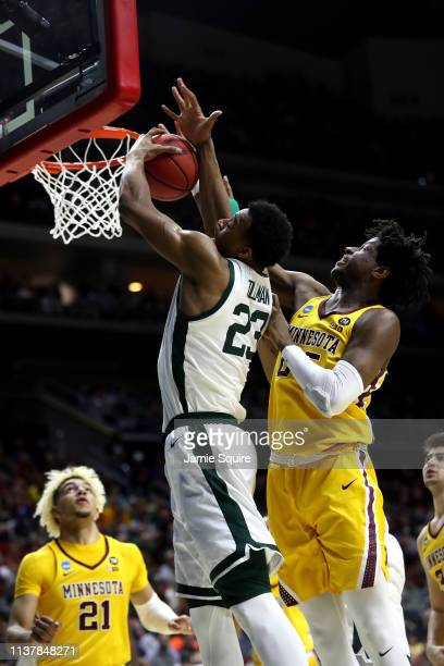 Xavier Tillman of the Michigan State Spartans rebounds against Minnesota Golden Gophers during the first half in the second round game of the 2019...
