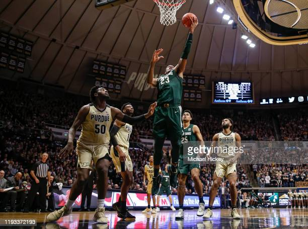 Xavier Tillman of the Michigan State Spartans shoots the ball during the first half against the Purdue Boilermakers at Mackey Arena on January 12,...