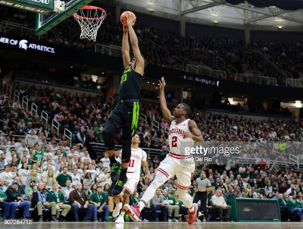 Xavier Tilman of the Michigan State Spartans dunks the ball during a game against the Indiana Hoosiers at Breslin Center on January 19 2018 in East...