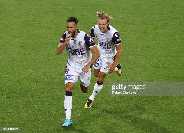 Xavier Torres of the Glory celebrates after scoring a goal during the round eight ALeague match between Melbourne City and Perth Glory at AAMI Park...