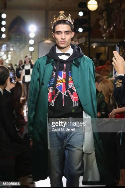 Xavier walks the Dolce Gabbana Italian Christmas catwalk show at Harrods on November 2 2017 in London England