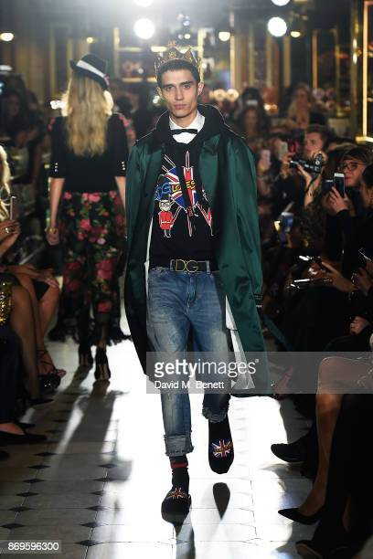 Xavier walks the runway during the Dolce Gabbana Italian Christmas at Harrods on November 2 2017 in London England
