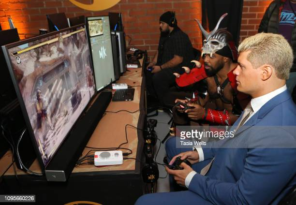 Xavier Woods and Cody Rhodes attend Mortal Kombat 11 The Reveal on January 17 2019 in Los Angeles California