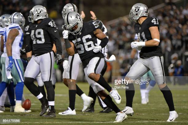 Xavier WoodsonLuster of the Oakland Raiders reacts after a play against the Dallas Cowboys during their NFL game at OaklandAlameda County Coliseum on...