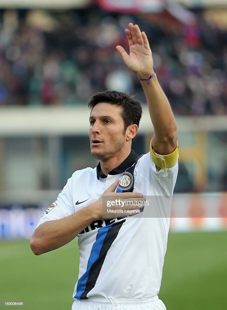 Xavier Zanetti of FC Internazionale celebrates after the Serie A match between Calcio Catania and FC Internazionale Milano at Stadio Angelo Massimino on March 3, 2013 in Catania, Italy.