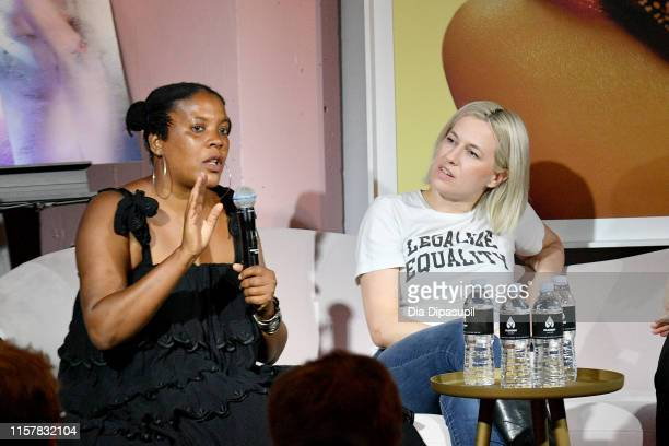 Xaviera Simmons and Natalie White speak at The Art of Sexuality Event at Playboy Playhouse on June 23 2019 in New York City