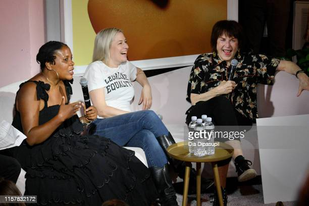 Xaviera Simmons Natalie White and Marylyn Minter speak at The Art of Sexuality Event at Playboy Playhouse on June 23 2019 in New York City