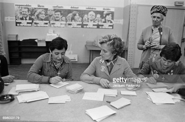Xaviere Tiberi and Bernadette Chirac wife of mayoral candidate for Paris Jacques Chirac answering letters from Chirac supporters in his committee...