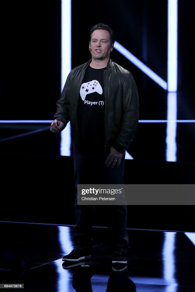 Xbox chief Phil Spencer speaks during the Microsoft xBox E3 briefing at the Galen Center on June 11, 2017 in Los Angeles, California. The E3 Game Conference begins on Tuesday June 13.
