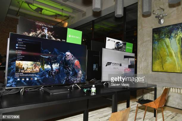 Xbox One X gaming stations are seen as Liam Payne Chloe Grace Moretz Brooklyn Beckham and Caleb McLaughlin Host Xbox One x VIP Event Xbox Live...