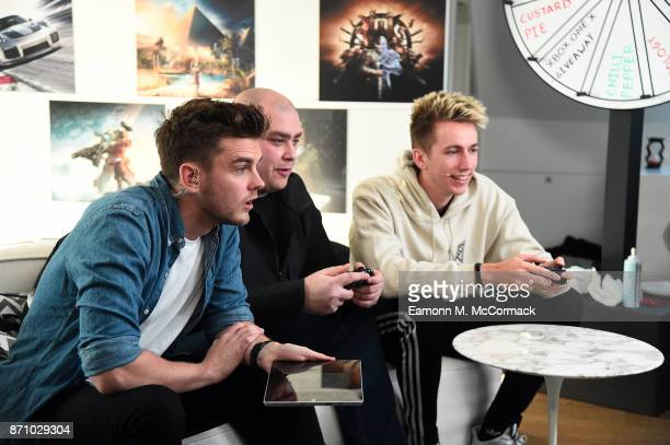 Xbox On's Benny with Bateson and Miniminter at the Xbox One X Launch Livestream on November 6 2017 in London England
