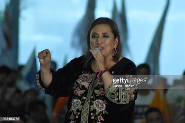 Xóchitl Gálvez Ruiz candidate of México al Frente coalition talks during a Civic Gathering as part of Ricardo Anaya's election campaign at Deportivo...