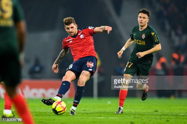 Xeka of Lille and Aleksandr Golovin of Monaco during the Ligue 1 match between Lille and Monaco at Stade Pierre Mauroy on March 15 2019 in Lille...