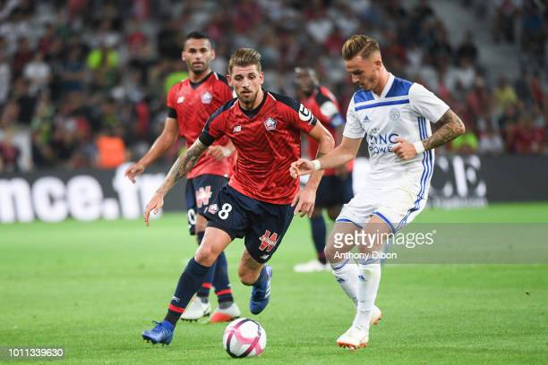 Xeka of Lille and James Maddison of Leicester during the friendly match between Lille and Leicester at Stade Pierre Mauroy on August 4 2018 in Lille...