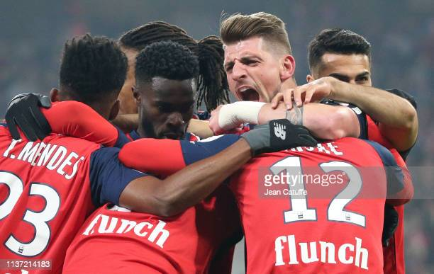 Xeka of Lille celebrates the first goal for his team during the French Ligue 1 match between Lille OSC and Paris SaintGermain at Stade Pierre Mauroy...