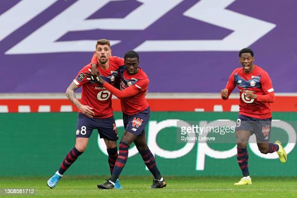 Xeka of Lille OSC celebrates after scoring his team's first goal during the Ligue 1 match between Lille OSC and Nimes Olympique at Stade Pierre...