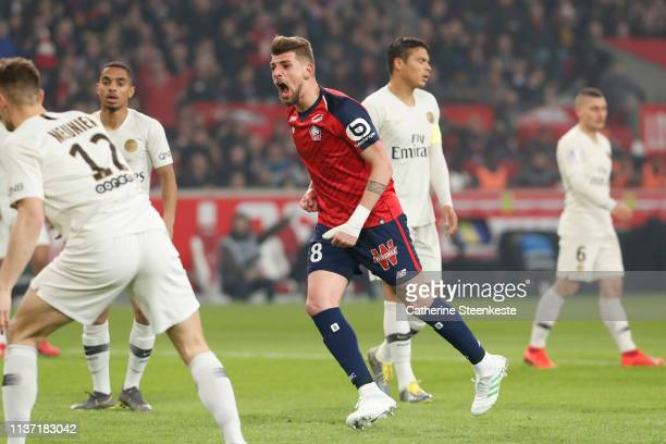 Xeka of Losc celebrates his goal during the Ligue 1 match between Paris SaintGermain and Lille OSC at Stade Pierre Mauroy on April 14 2019 in Lille...