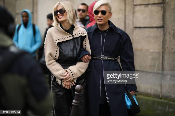 Xenia Adonts and Bryan Boy are seen outside Altuzarra show during Paris Fashion week Womenswear Fall/Winter 2020/2021 Day Six on February 29 2020 in...